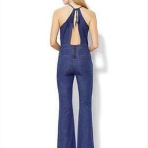 NY&CO Halter Denim Jumpsuit Open Back 70s Vibe 10